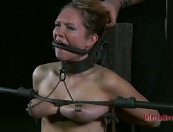 Restrained chick acquires wild toy drilling for her cunt