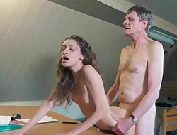 skinny youthfull babe with old pervert