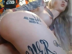 Beautiful Babe With Tatted Body Fucks Her Holes