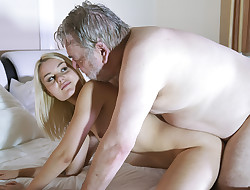 Skinny nubile gargles the cock of an elderly man she swallows cum