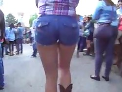 Candid Bubble Ass Country Girl In Tight Jean Shorts & Boots